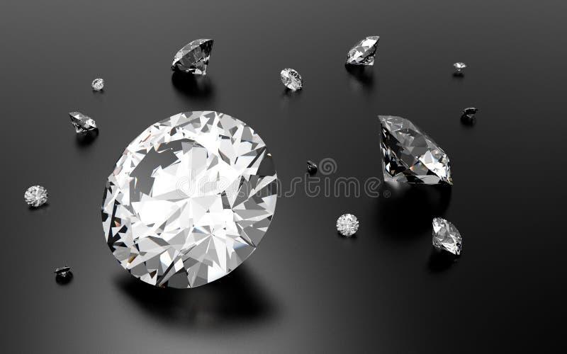 Glanzende 3d diamanten royalty-vrije illustratie