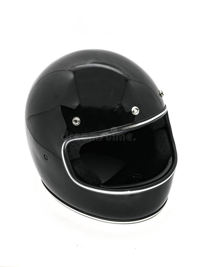 Glanzende details op een zwarte geïsoleerde helm stock foto's