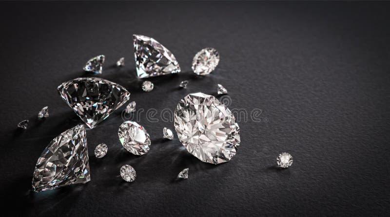 Glanzende diamanten op zwarte achtergrond stock fotografie