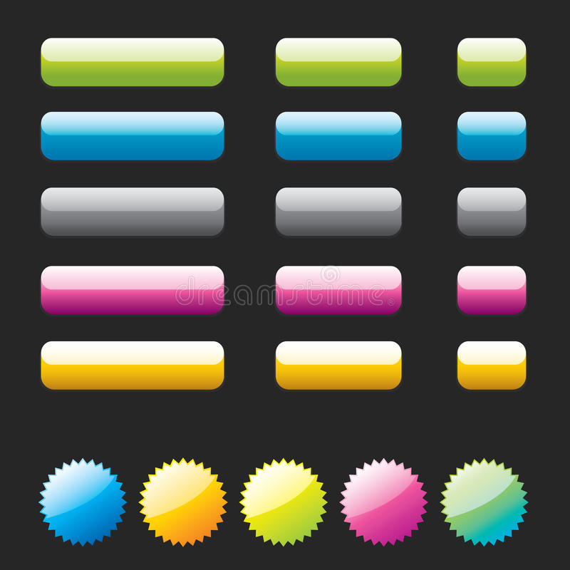 Glanzende elementen voor de Toepassingen van het Web. vector illustratie
