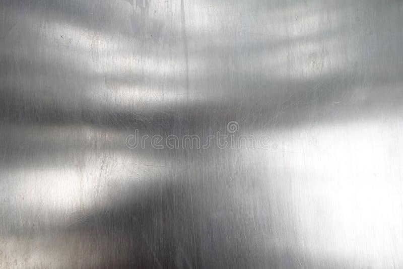 Glanzende en weerspiegelende oppervlakte van metaalblad, de plaattextuur van het close-upstaal met uiterst kleine krassen stock foto