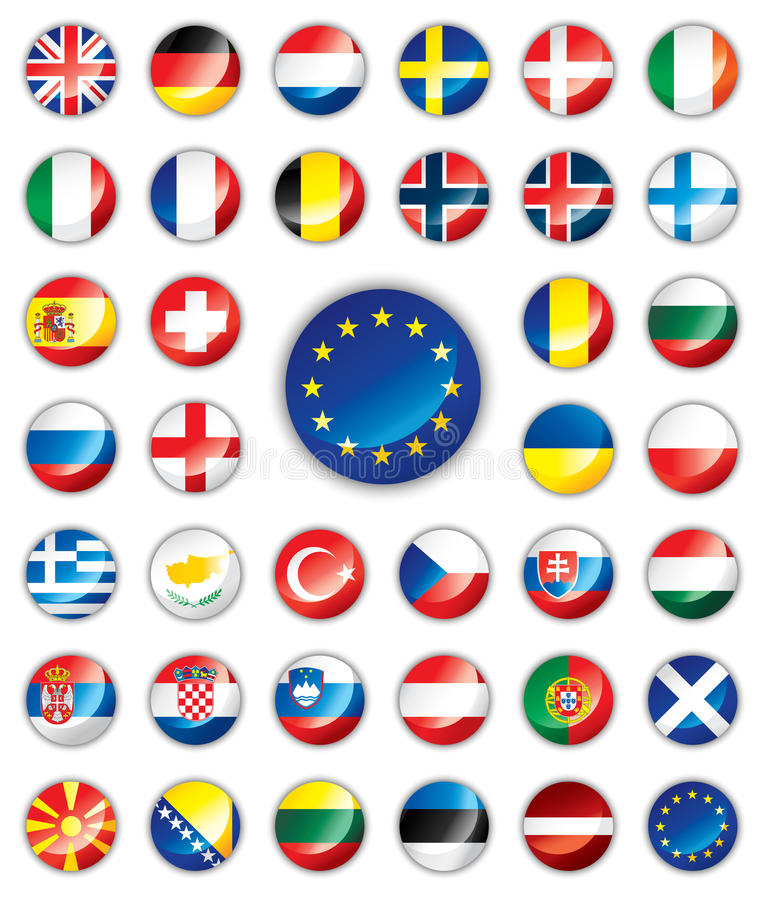 Glanzende Europese knoopvlaggen - royalty-vrije illustratie