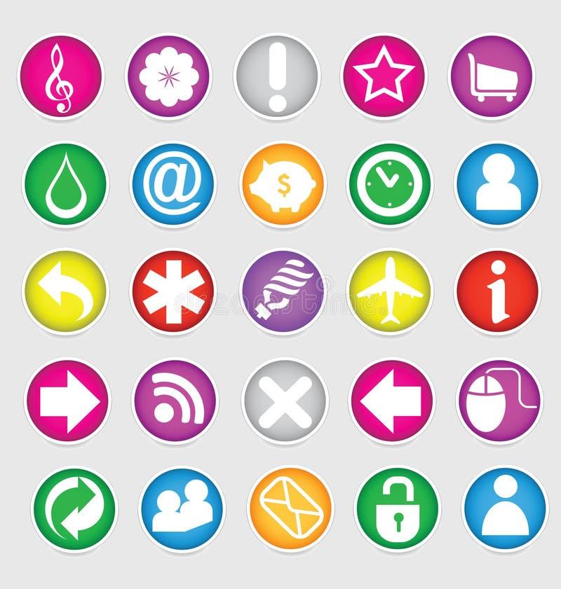 Glanzende gekleurde geplaatste Web sociale symbolen royalty-vrije illustratie