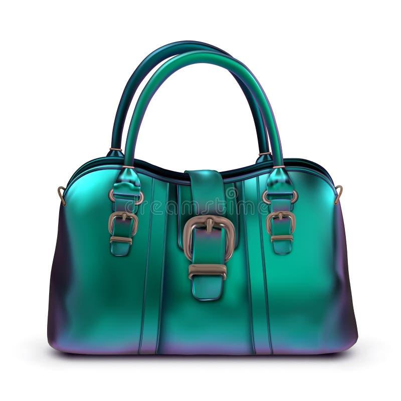 Glanzende gelakte de zak turkooise iriserende kleur van vrouwen met gespen en korte handvatten vector illustratie