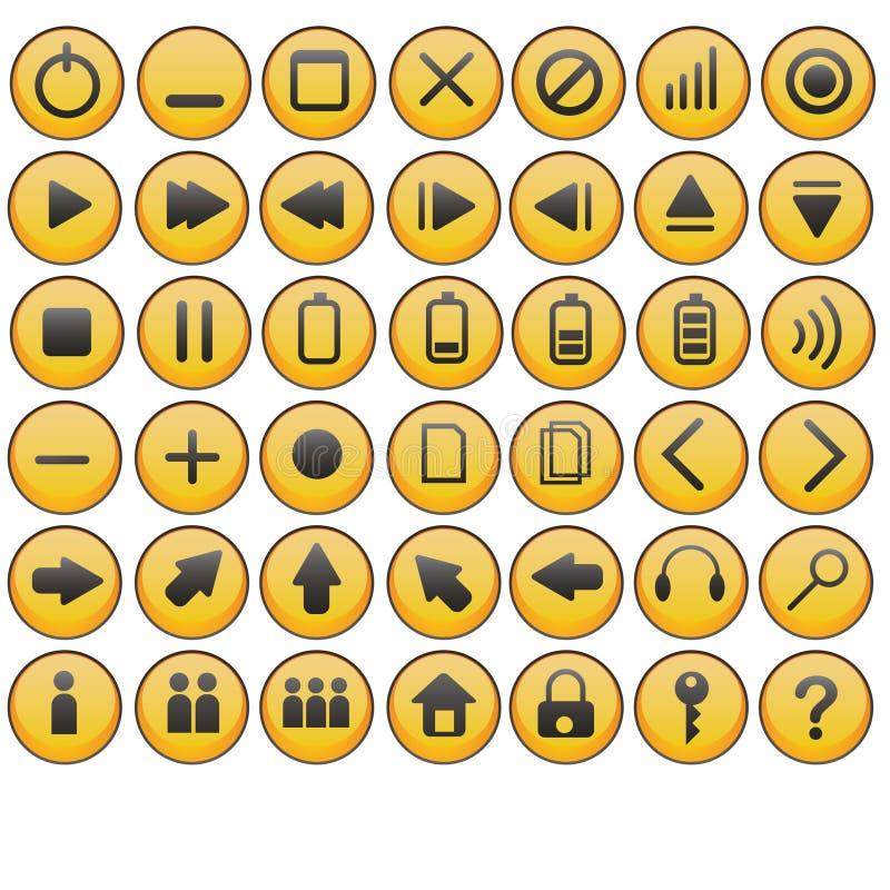 Glanzende gele pictogrammen stock illustratie
