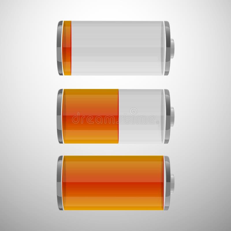 Glanzende geplaatste batterijpictogrammen. vector illustratie