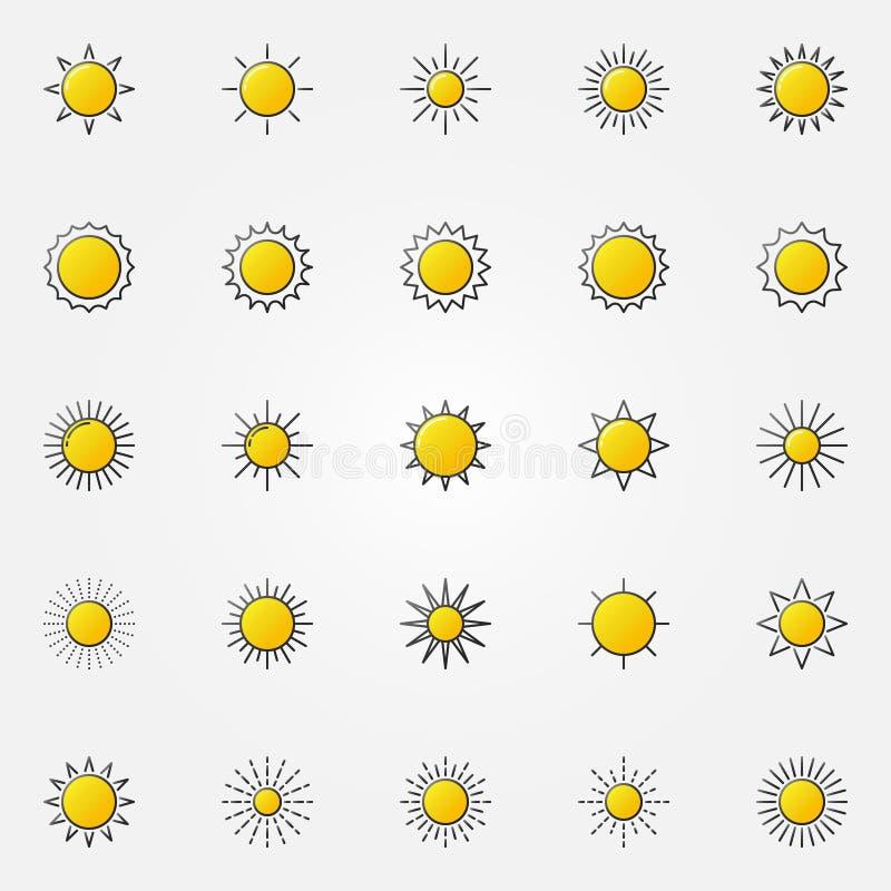 Glanzende Geplaatste Zonpictogrammen royalty-vrije illustratie