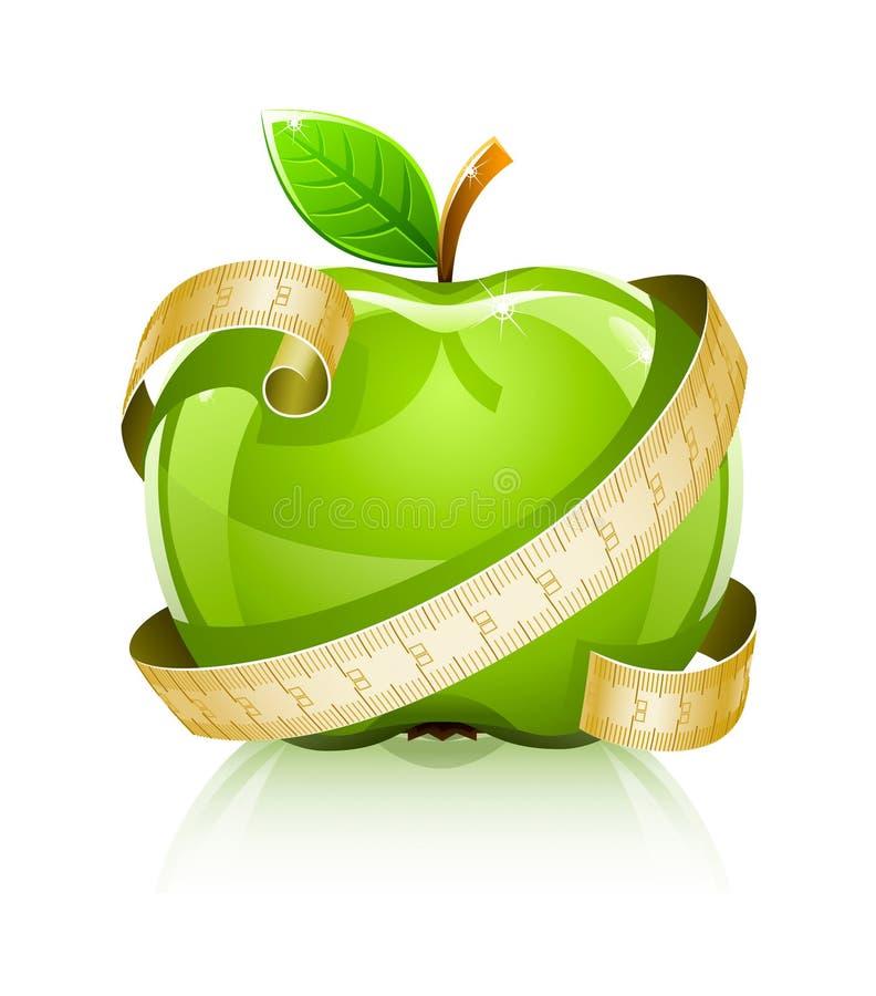 Glanzende Glas Groene Appel Met Het Meten Van Lijn Stock Fotografie