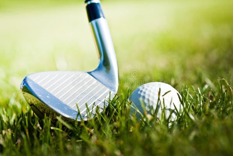 Glanzende golfclub en bal op het gras royalty-vrije stock fotografie
