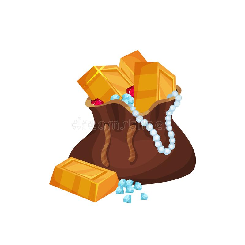 Glanzende gouden baren, parelhalsband, diamanten en robijnen in bruine zak Beeldverhaalpictogram in vlakke stijl Kleurrijke vecto stock illustratie