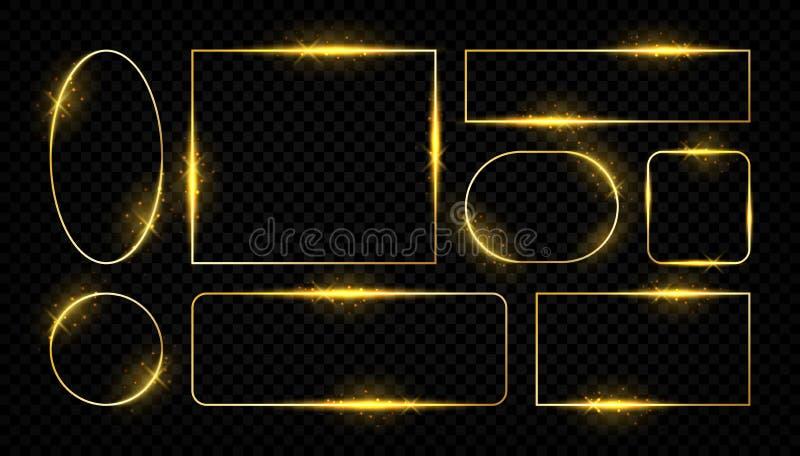 Glanzende gouden kaders Gloeiende grenslijnen voor groetkaarten, gouden vector vierkante en ronde vormen op transparant vector illustratie
