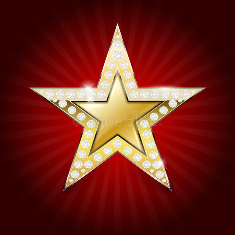 Glanzende gouden ster met diamanten stock illustratie