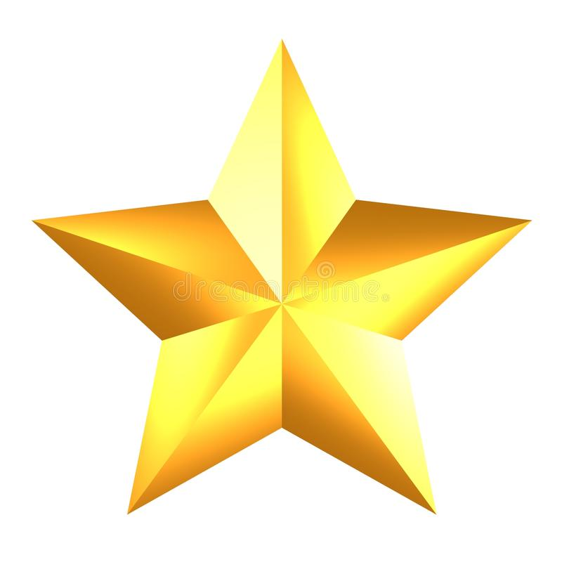 Glanzende Gouden Ster op witte achtergrond royalty-vrije illustratie