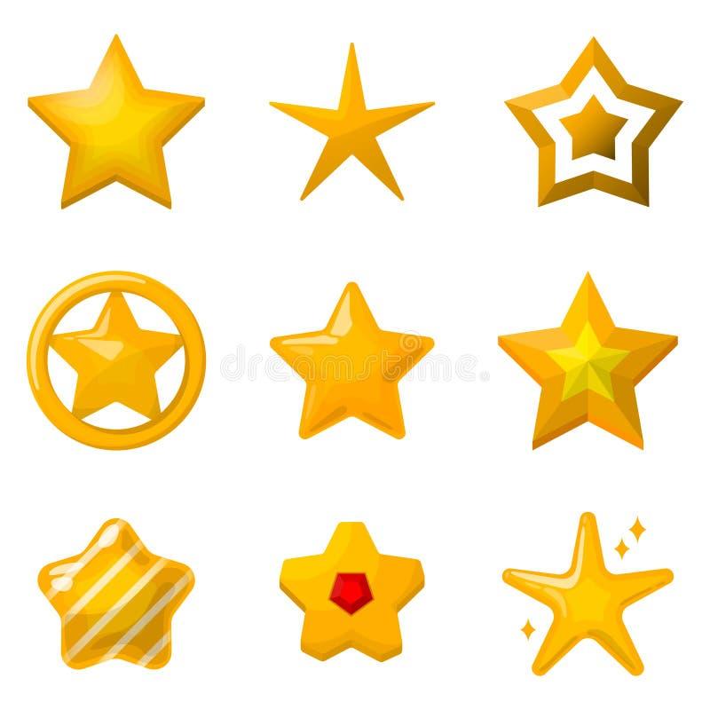 Glanzende gouden sterren in beeldverhaalstijl Pictogrammen voor de projecten dat van het spelontwerp worden geplaatst vector illustratie