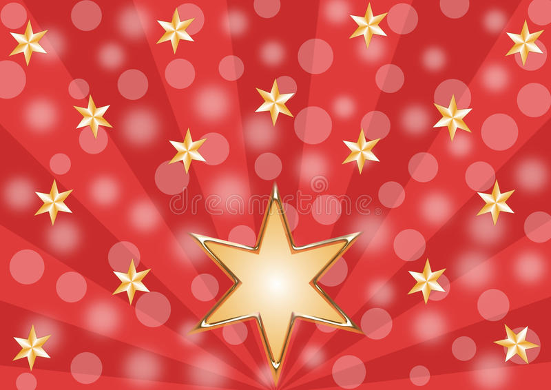 Glanzende gouden sterren op een rood stralenpatroon royalty-vrije illustratie