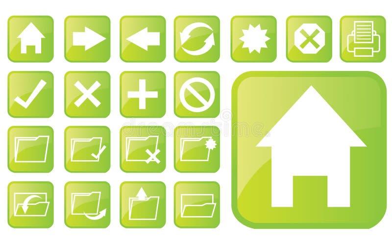 Glanzende groene pictogrammen part2 vector illustratie