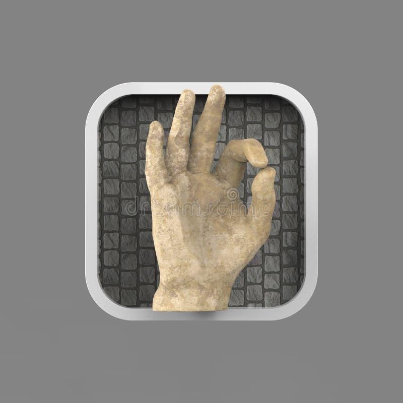 Glanzende hand die O.K. rond gemaakte vierkante toepassing tonen vector illustratie