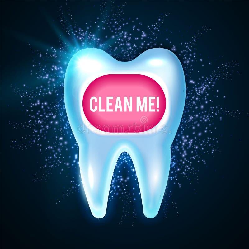 Glanzende Helthy-Tand met Lichten Schoonmakende tanden Het verse Malplaatje van het de Stomatologieontwerp Stilleven van groene a vector illustratie
