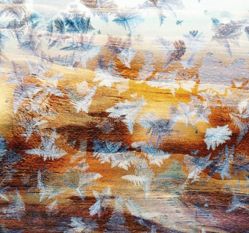 Glanzende het ijsdecoratie van het de wintervenster royalty-vrije stock fotografie