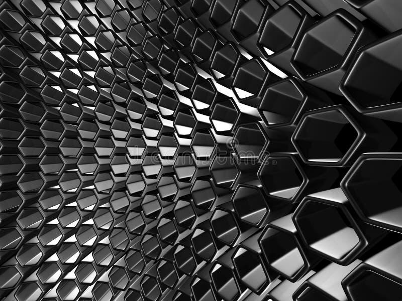 Glanzende Hexagon Patroon Donkere Metaal Zilveren Achtergrond stock afbeelding