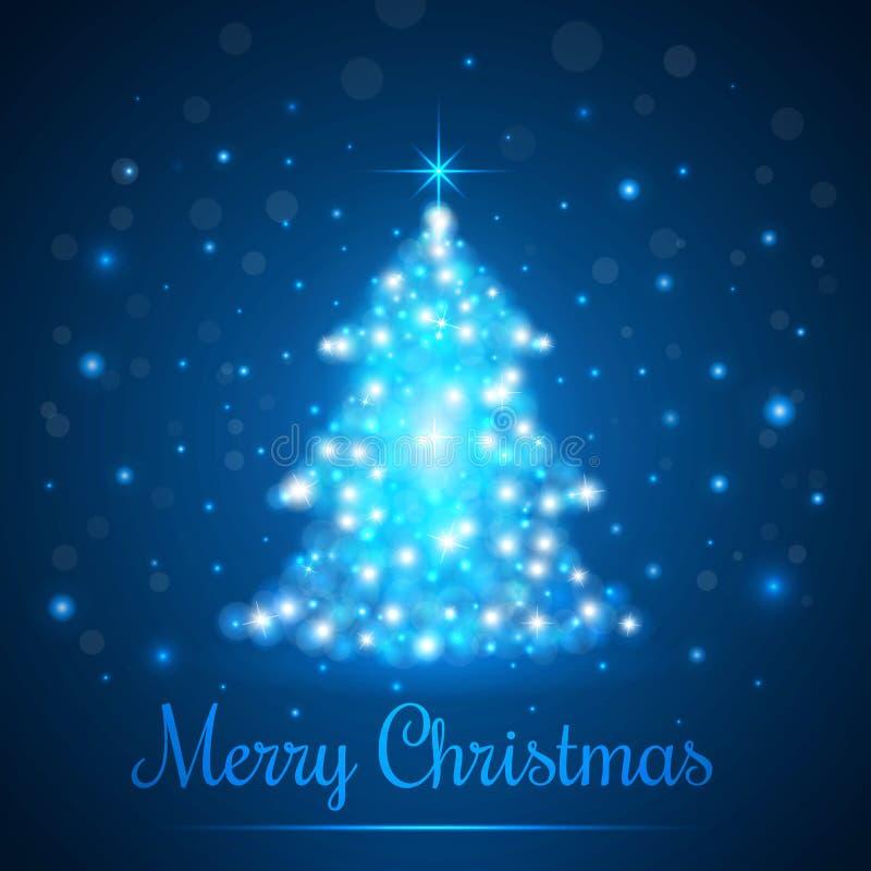 Glanzende Kerstboom op Blauwe Achtergrond met Lichten Vector illustratie royalty-vrije illustratie
