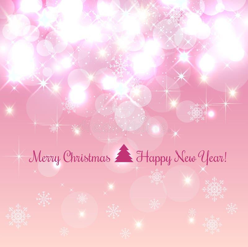 Glanzende Kerstmis en Nieuwjaarachtergrond met sneeuwvlokken, licht, sterren Vector illustratie Kerstmis royalty-vrije illustratie