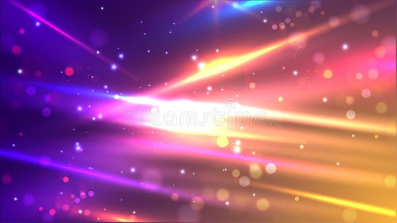 Glanzende kleurrijke snelheidslijnen op de abstracte achtergrond van de bokehmotie stock illustratie