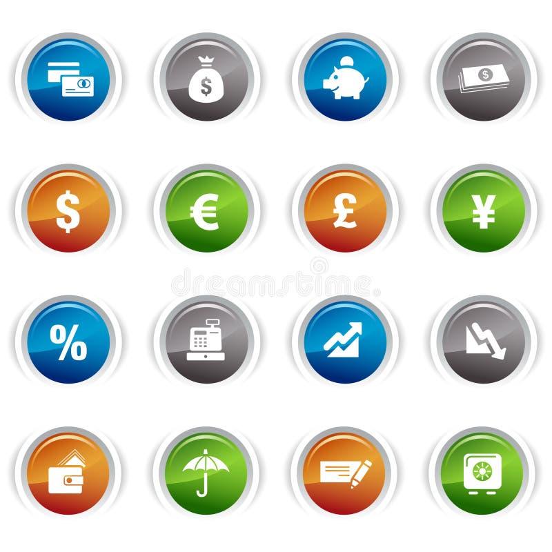 Glanzende knopen - de pictogrammen van Financiën royalty-vrije illustratie