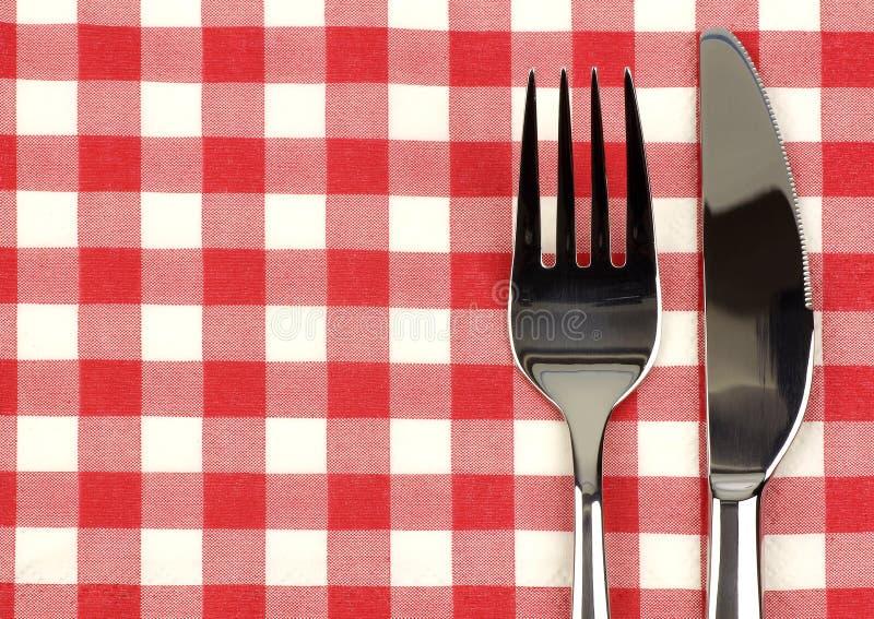 Glanzende mes en vork royalty-vrije stock afbeeldingen