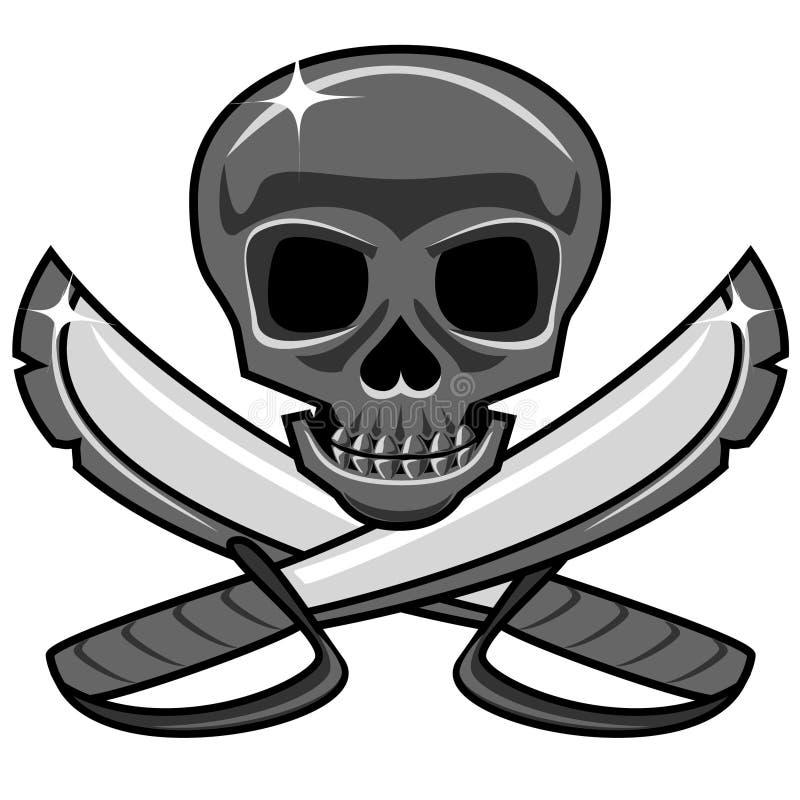 Glanzende metaalschedel met gekruiste zwaarden, piraatstijl stock illustratie
