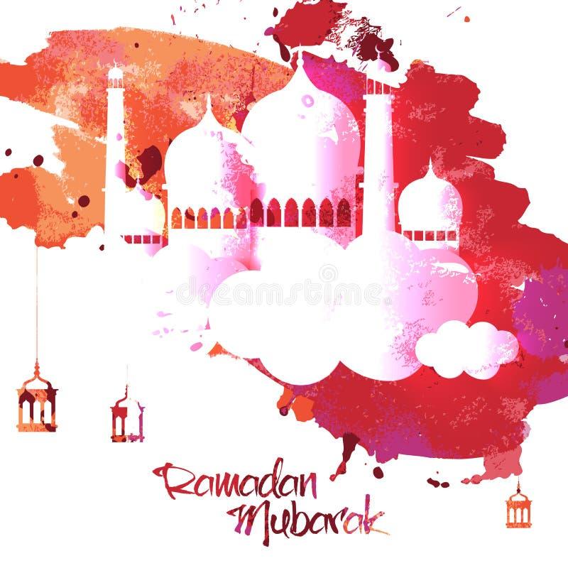 Glanzende Moskee voor Ramadanviering stock illustratie