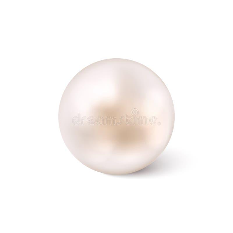 Glanzende natuurlijke witte overzeese parel met geïsoleerde lichteffecten voor witte achtergrond Vector illustratie royalty-vrije illustratie