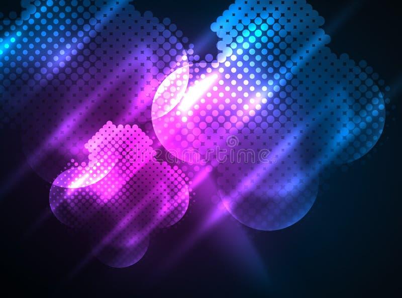 Glanzende neon gloeiende cirkels, de structuur van puntdeeltjes stock illustratie
