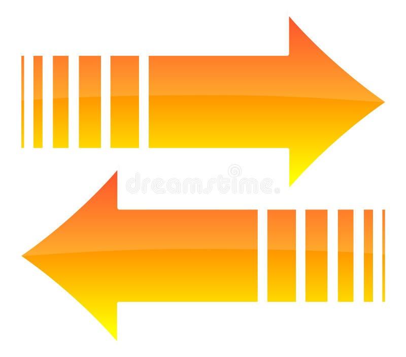 Glanzende oranje pijlen stock afbeeldingen