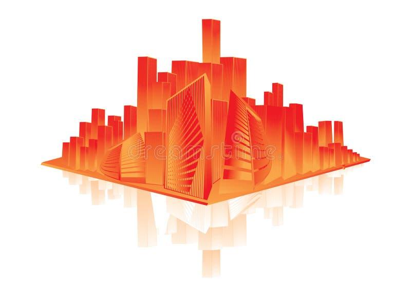 Glanzende oranje stad royalty-vrije illustratie