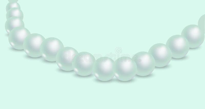 Glanzende parelhalsband Achtergrond van luxe de mooie juwelen voor huwelijks kosmetisch thema, feestontwerp stock illustratie