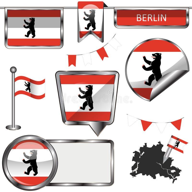 Glanzende pictogrammen met vlag van Berlijn stock illustratie