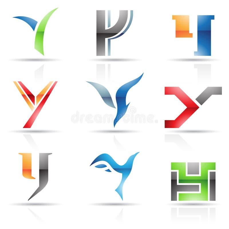 Glanzende Pictogrammen voor brief Y stock illustratie