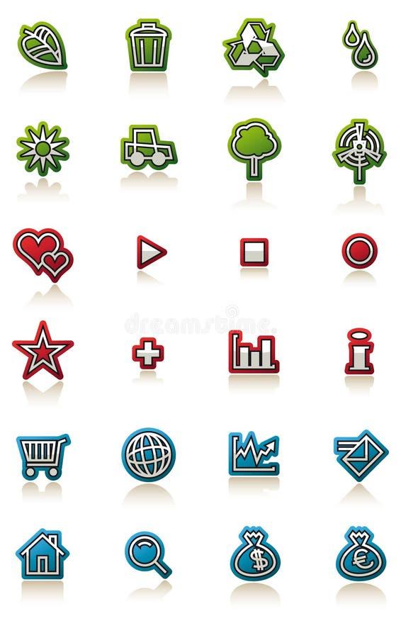 Glanzende pictogramreeks vector illustratie