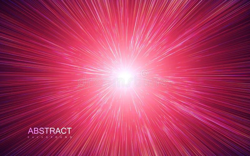 Glanzende radiale uitbarsting met lineaire deeltjes stock illustratie