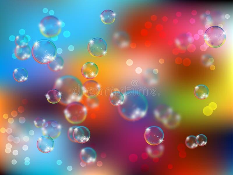 Glanzende realistische en doorzichtige zeepbel met gloeiende fonkelingenillustratie op lichte achtergrond vector illustratie