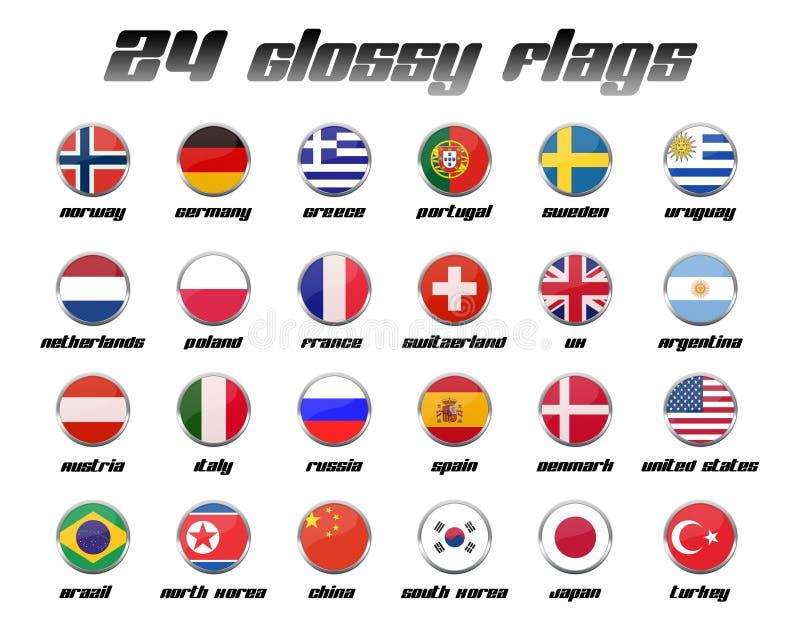 Glanzende Reeks 1 van de Vlag vector illustratie
