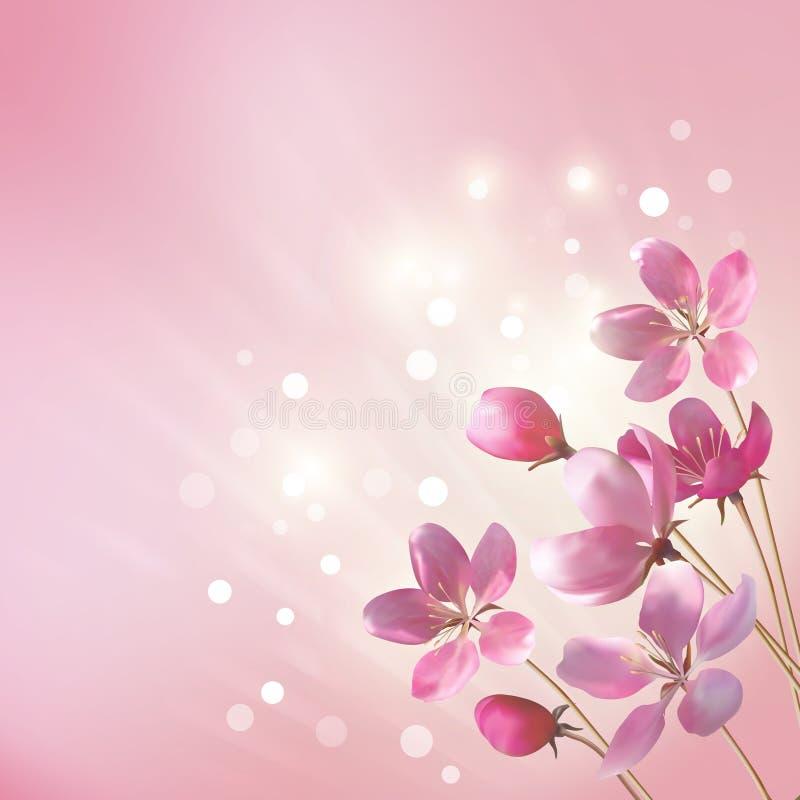 Glanzende roze bloemenachtergrond stock illustratie