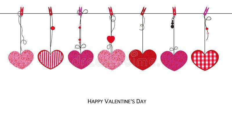 Glanzende rozerode harten De gelukkige kaart van de Valentijnskaartendag met het hangen van de hartenachtergrond van Liefdevalent vector illustratie