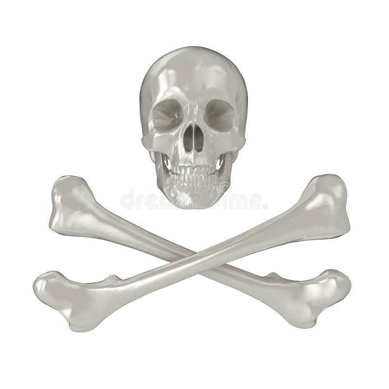 Glanzende schedel en gekruiste knekels vector illustratie