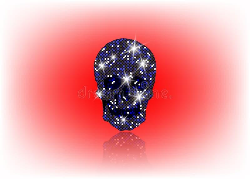 Glanzende Schedel van blauwe schitterende sterren Blauwe halfedelstenen en Diamond Skull-elementeninzameling Dag van de Doden De  vector illustratie