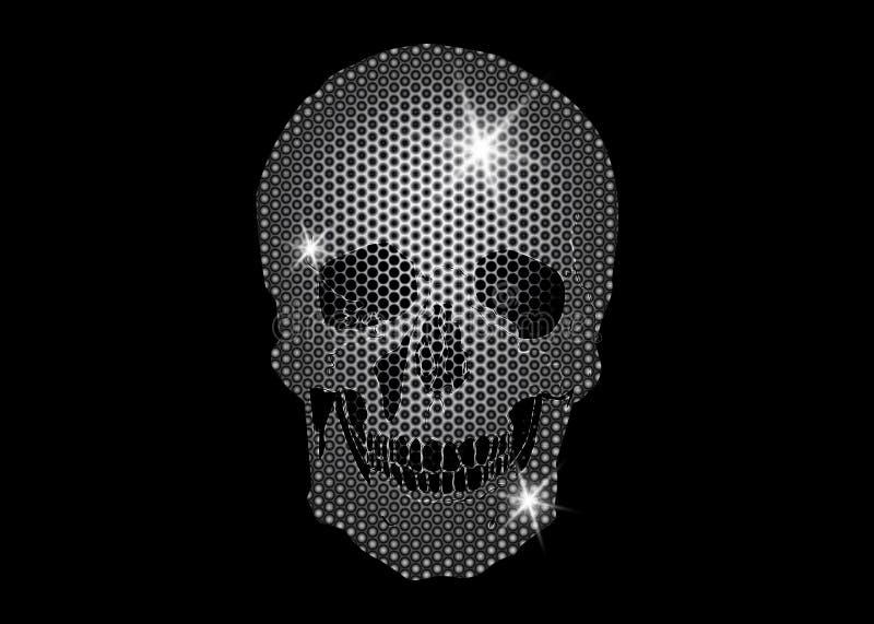 Glanzende Schedel van platina en diamanten schitterende sterren De metaalinzameling van het Schedelelement Dag van de Doden vector illustratie