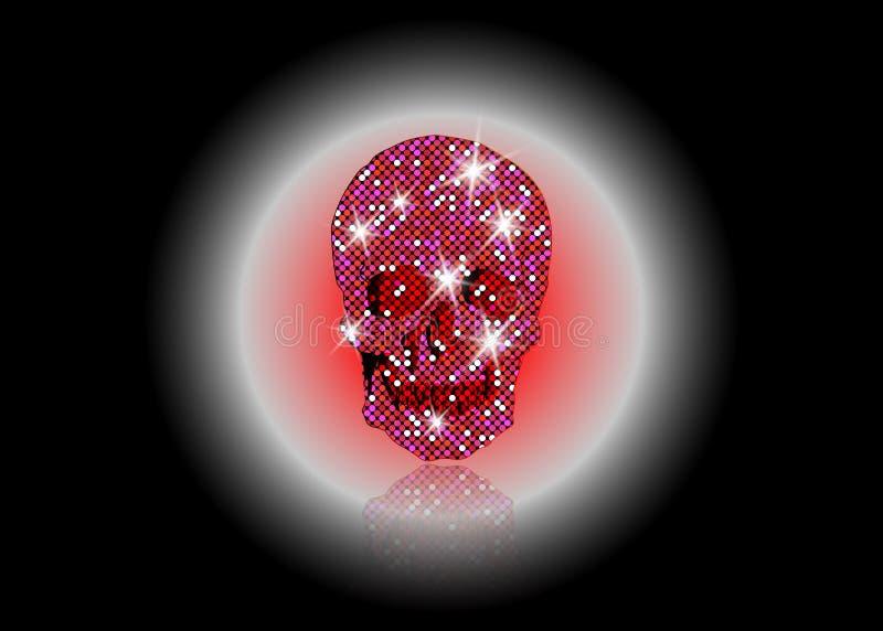 Glanzende Schedel van roze schitterende sterren Blauwe halfedelstenen en Diamond Skull-elementeninzameling Dag van de Doden De ma royalty-vrije illustratie