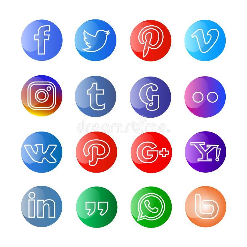 Glanzende Sociale media pictogram en knopen vector illustratie