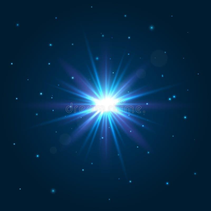 Glanzende ster Explosie lichteffect Abstracte verlichtingsachtergronden voor uw ontwerp Vector illustratie stock illustratie